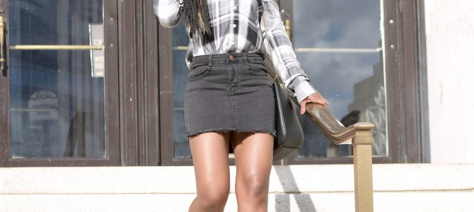 Fall Style: Plaid Button Down Top + Black Denim Skirt + Ego Black Lace Up Booties