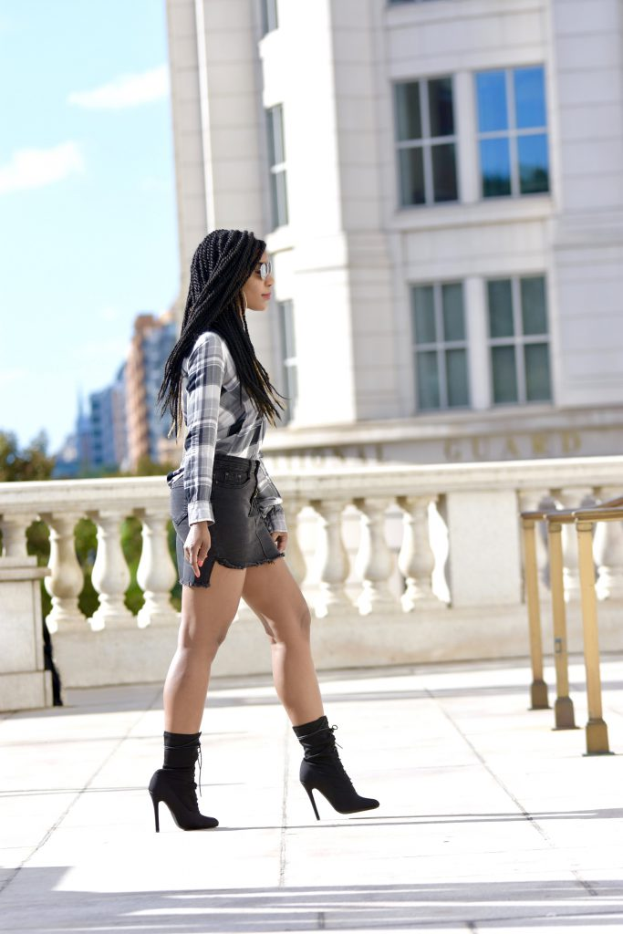 Black and White Plaid Button Down Top, Romwe Raw Hem Black Denim Skirt, Ego Official Black Lace Up Booties
