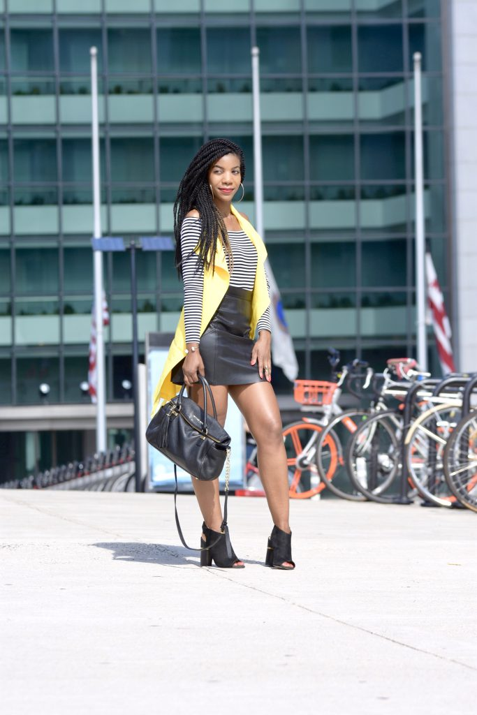 SheIn Yellow Vest, H&M Black and White OTS Top, H&M Black Vegan Leather MiniSkirt, Black Michael Kors Chain Purse, Aldo Black Sling Back Mules