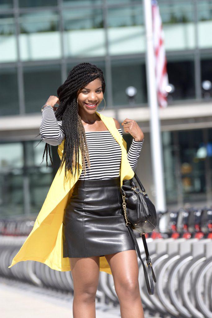 SheIn Yellow Vest, H&M Black and White OTS Top, H&M Black Vegan Leather MiniSkirt, Black Michael Kors Chain Purse, Aldo Black Sling Back Mules
