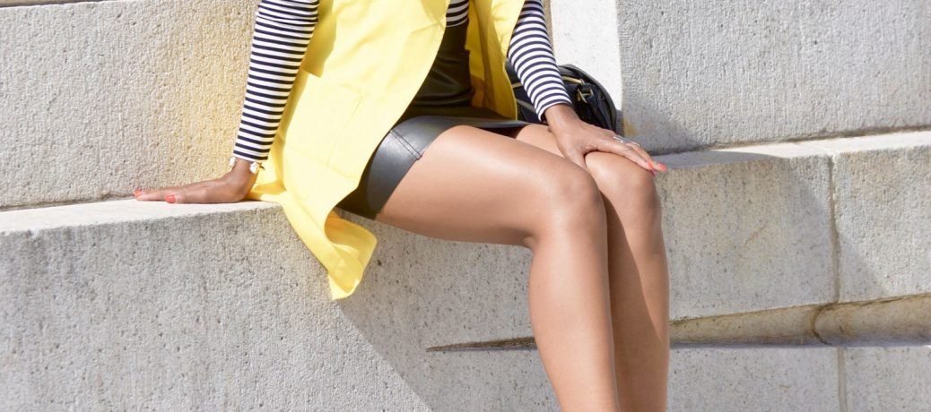 Fall Style: SheIn Yellow Vest + Black and White Striped Top + Black Leather Mini Skirt