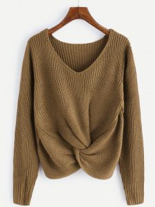 Romwe Tan V-Neckline Twist Front Sweater