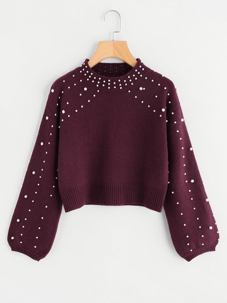 SHEIN Bishop Sleeve Pearl Beading Crop Sweater