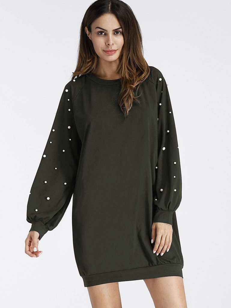 SheIn Pearl Beading Raglan Sweatshirt Dress