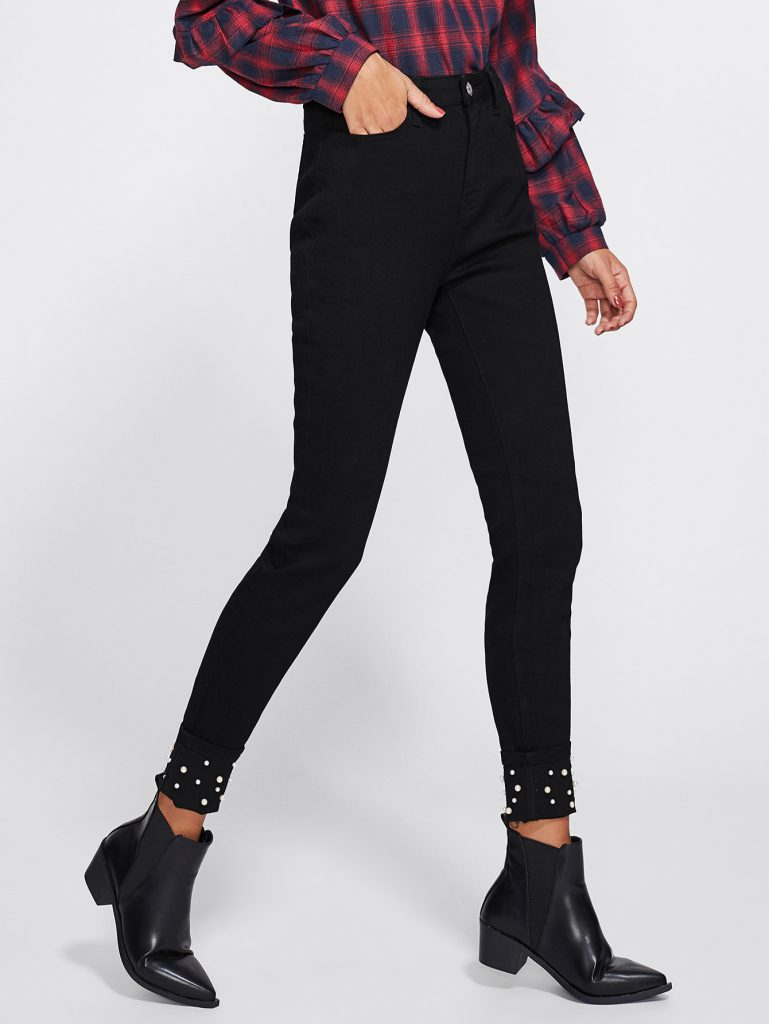 SHEIN Pearl Beading Hem Tailored Jeans