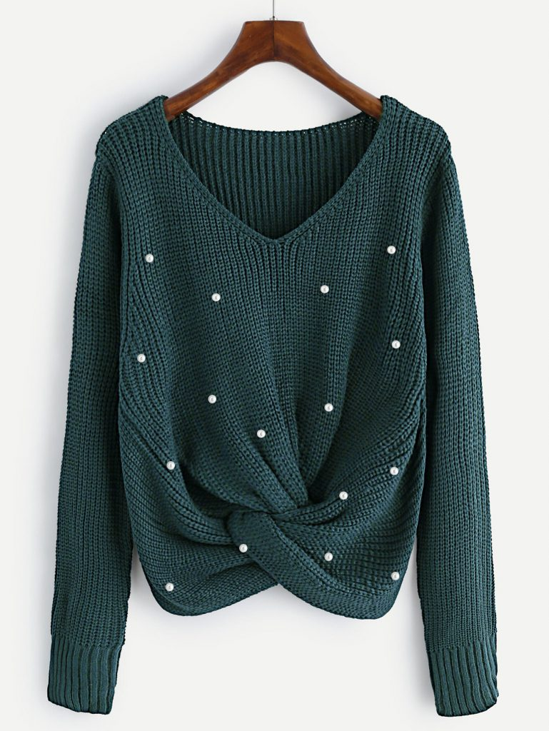 SheIn Pearl Beaded Twist Sweater