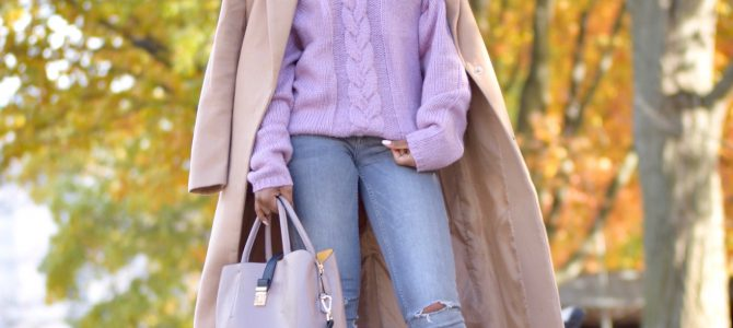 Fall Style: SheIn Cable Knit OTS Sweater + Gray Jeans + Camel Coat