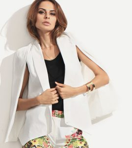 Romwe White Shawl Collar Cape Blazer