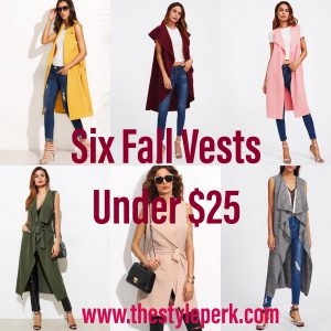 Six Fall Vests Under $25, SheIn Fall Vest, Sleeveless Vest, Sleeveless Belted Vest