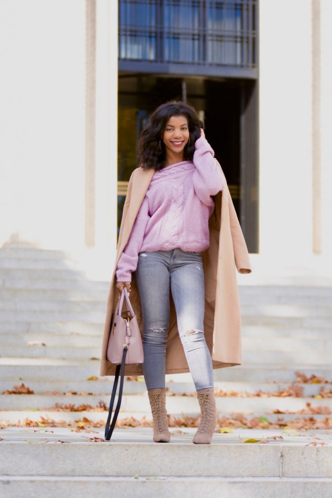 SHEIN Cable Knit Lilac Bardot Sweater, Camel Longline Coat, Simmi Aaliyah taupe lace up ankle boots, Zara gray ripped jeans