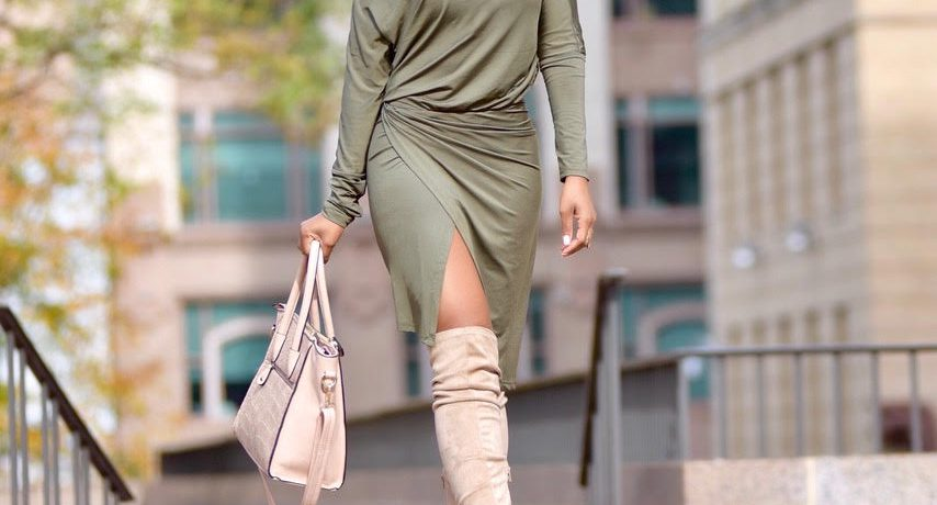 Fall Style: Olive Green Dress + Nude Peeptoe OTK Boots