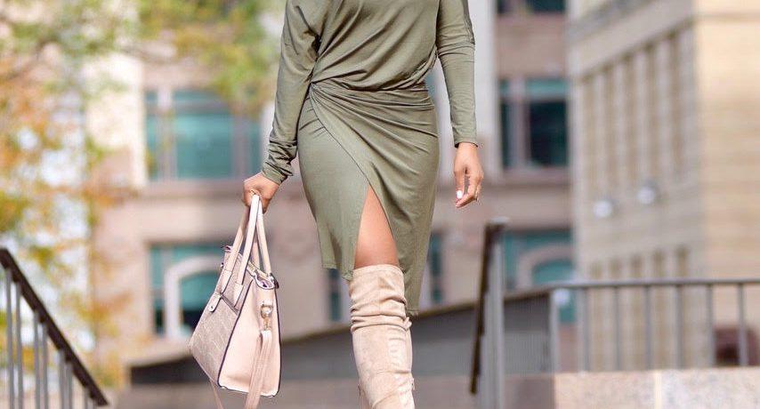Fall Style: Olive Green Dress + Nude Peeptoe OTK Boots