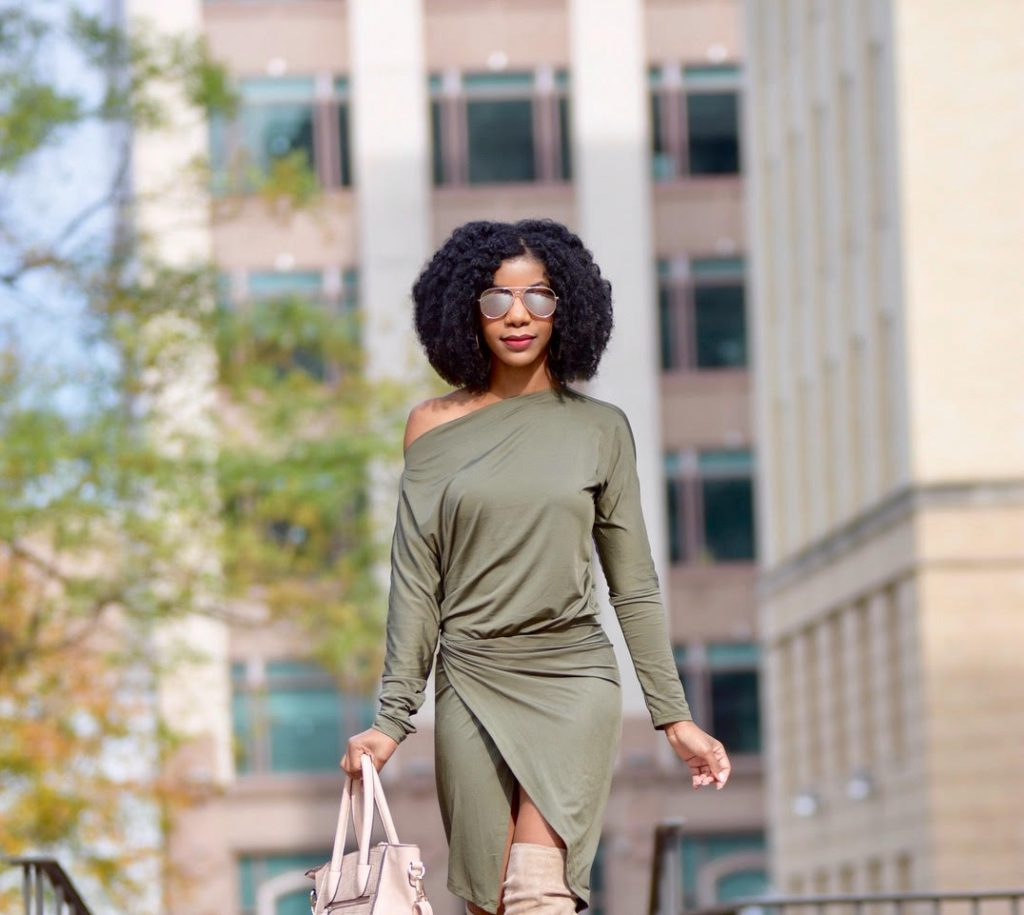 SheIn Olive Green Asymmetrical Dress,Windsor Store Nude Over The Knee Peeptoe Boots, Amazon Fashion Nude Purse with Strap, Missguided Nude Military Coat