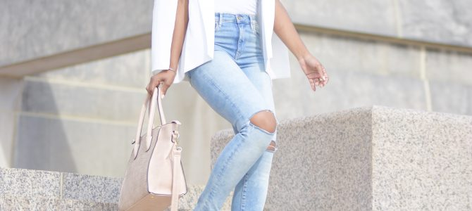 Fall Style: Romwe White Cape Blazer + Distressed Denim + Nude Pumps