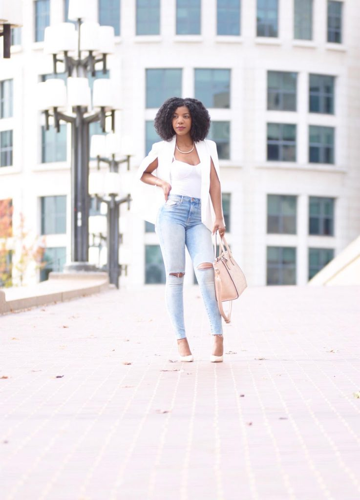 Romwe White Shawl Collar Cape Blazer, White Blazer, White Lapel Collar Blazer, White Open Collar Bazer, Distressed Skinny Jeans, Nude Pumps, Nude Satchel