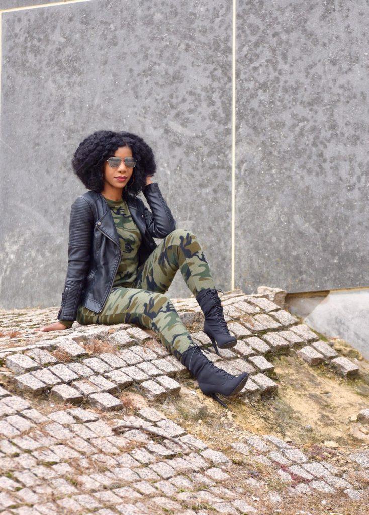 Romwe Camo Print Sweatsuit, Top Shop Black Leather Moto Jacket, Black Ego Official Lace Up Booties