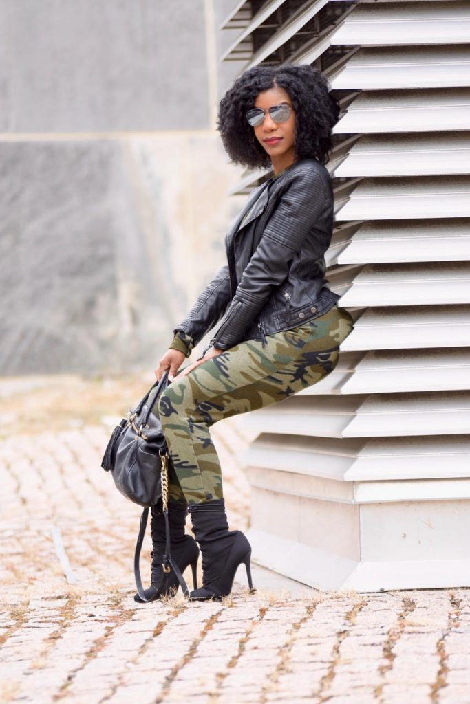 Romwe Camo Print Sweatsuit, Top Shop Black Leather Moto Jacket, Black Ego Official Lace Up Booties