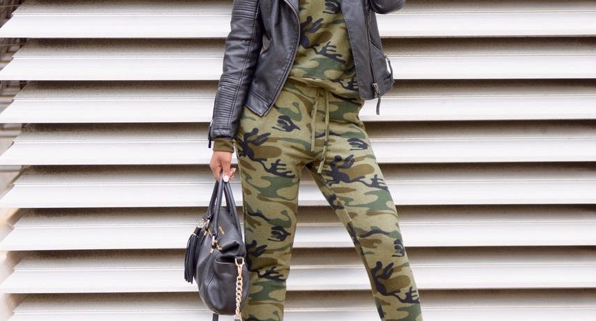 Fall Style: Romwe Camo Print Sweatsuit + Leather Jacket + Ego Black Lace Up Booties