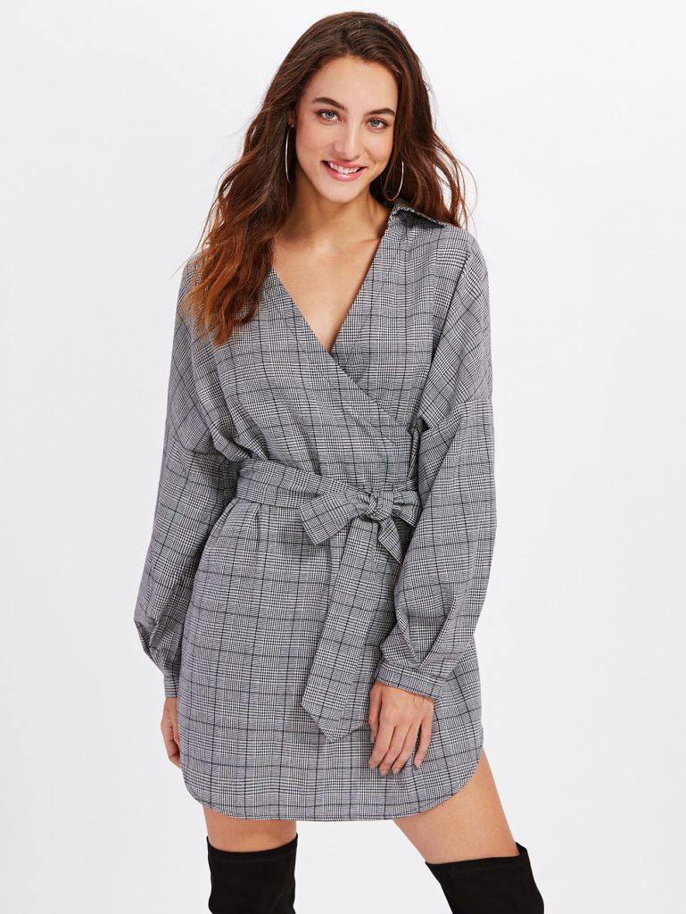 Romwe Gray Black and White Surplice Front Dolphin Hem Belted Plaid Dress