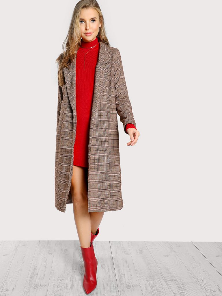 Romwe Coffee Taupe Red and Cream Peak Collar Plaid Coat