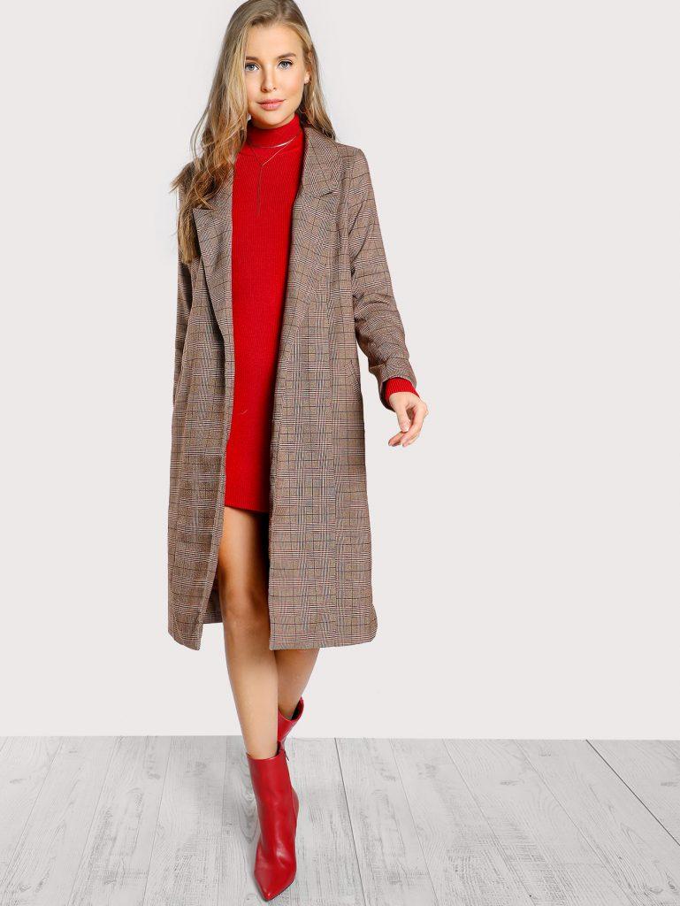 Romwe Coffee Taupe Red and Cream Peak Collar Plaid Coat