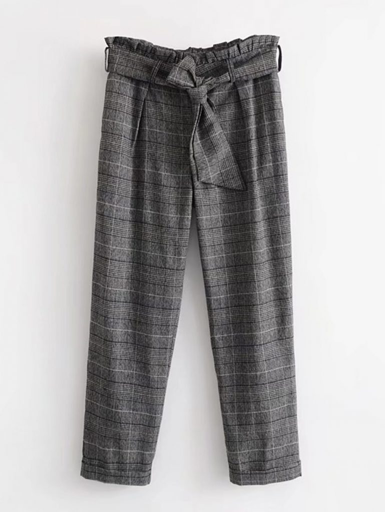 Romwe Black White and Gray Frill Waist Plaid Pants With Belt
