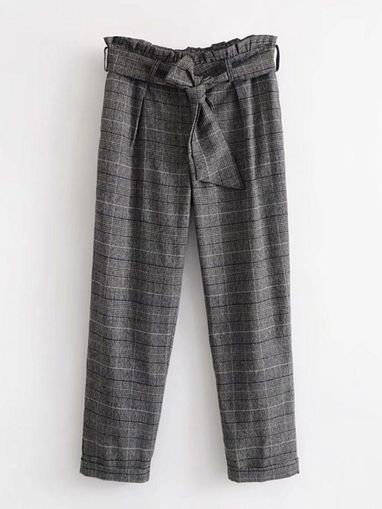 Romwe Black White and Gray Frill Waist Plaid Pants With Belt