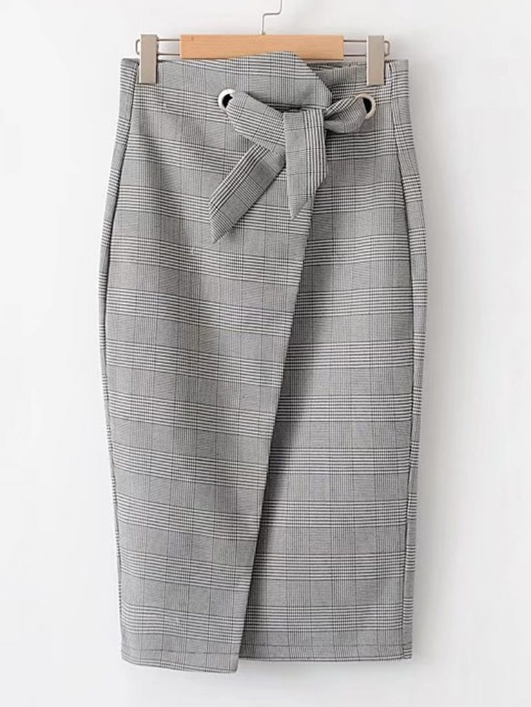 Romwe Black and White Slit Back Plaid Wrap Skirt