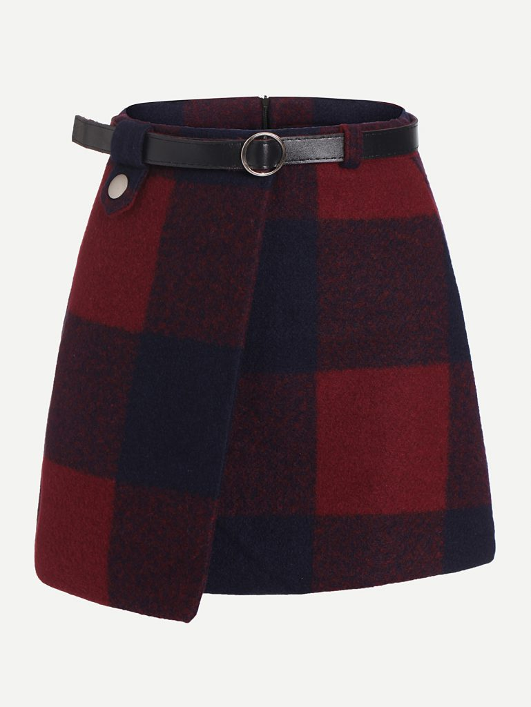 Romwe Navy Blue and Red Plaid Asymmetrical Front Layer Skirt