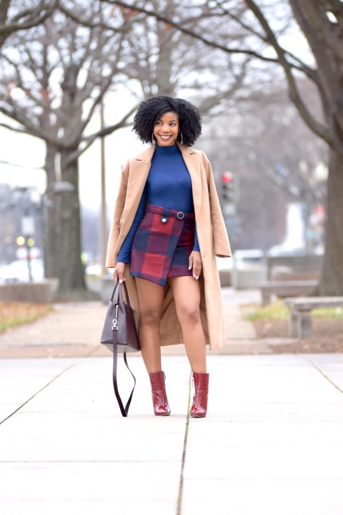 Romwe Plaid Asymmetrical Front Layer Skirt, Navy Blue Turtleneck, Longline Camel Coat, Burgundy Booties