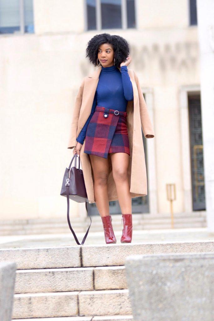 Romwe Plaid Asymmetrical Front Layer Skirt, Navy Blue Turtleneck, Longline Camel Coat, Burgundy Booties