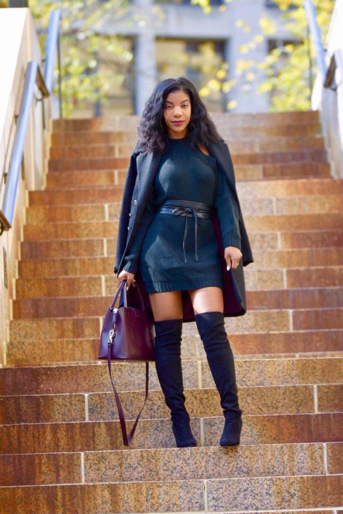 Tobi Black Half Thought Sweater Dress, Black Express Waist Belt, Black Steve Madden OTK Boots, H&M Black Military Coat, H&M Burgundy Satchel
