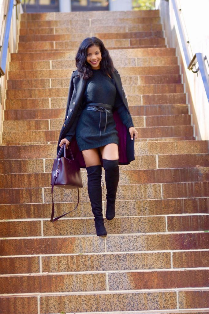 Tobi Black Half Thought Sweater Dress, Black Express Waist Belt, Black Steve Madden OTK Boots, H&M Black Military Coat, H&M Burgundy Satchel