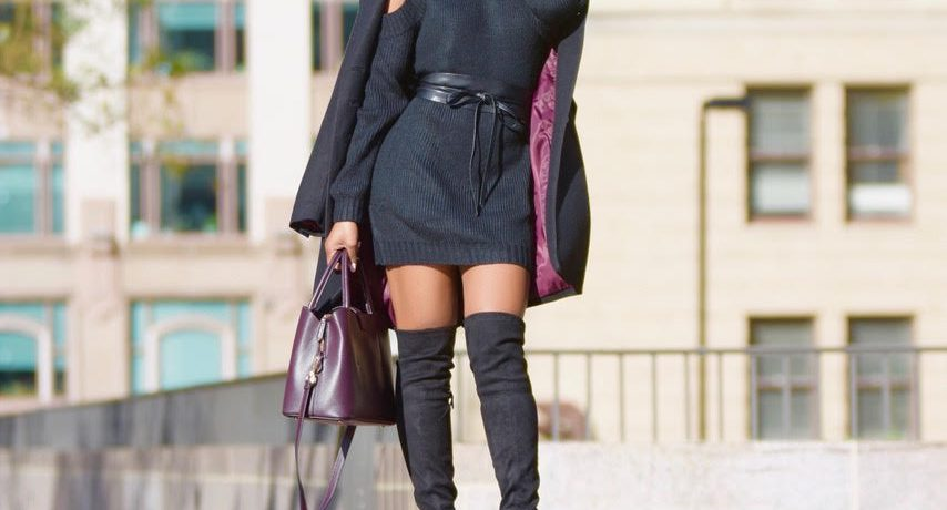 Fall/Winter Style: Tobi Cold Shoulder Sweater Dress + OTK Boots + Military Coat