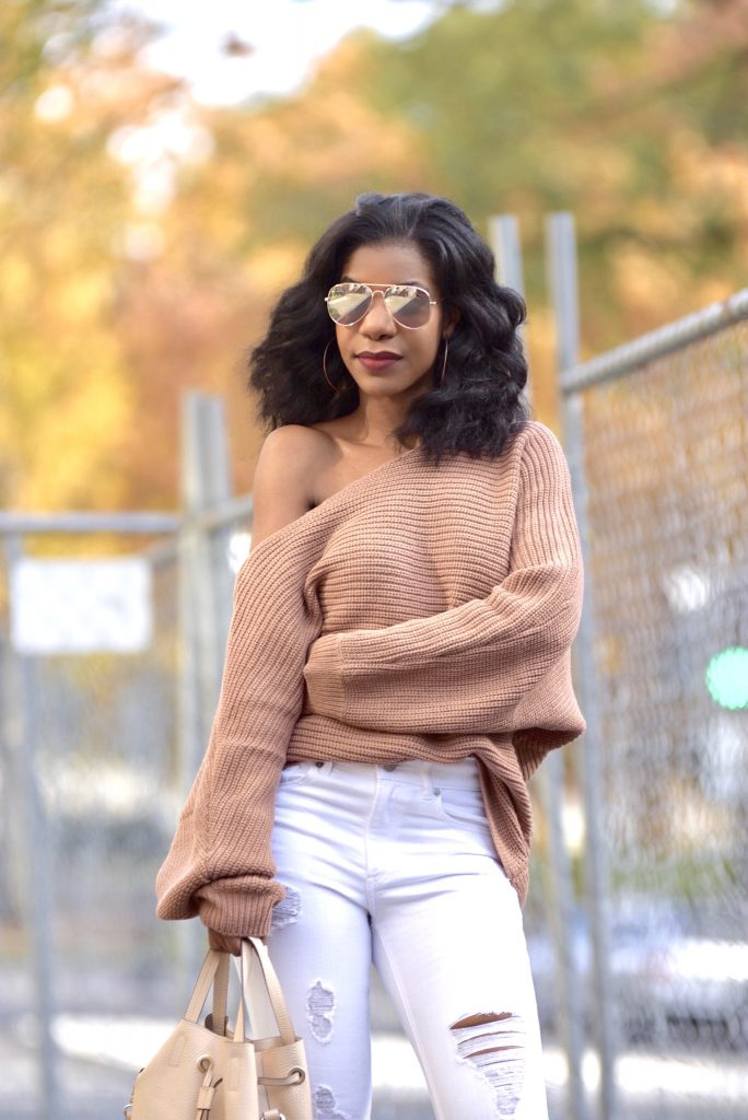 Tobi Time Will Tell Asymmetrical Sweater, Express White Ripped Jeans, GoJane Nude Lace Up Booties, Forever21 Camel Coat