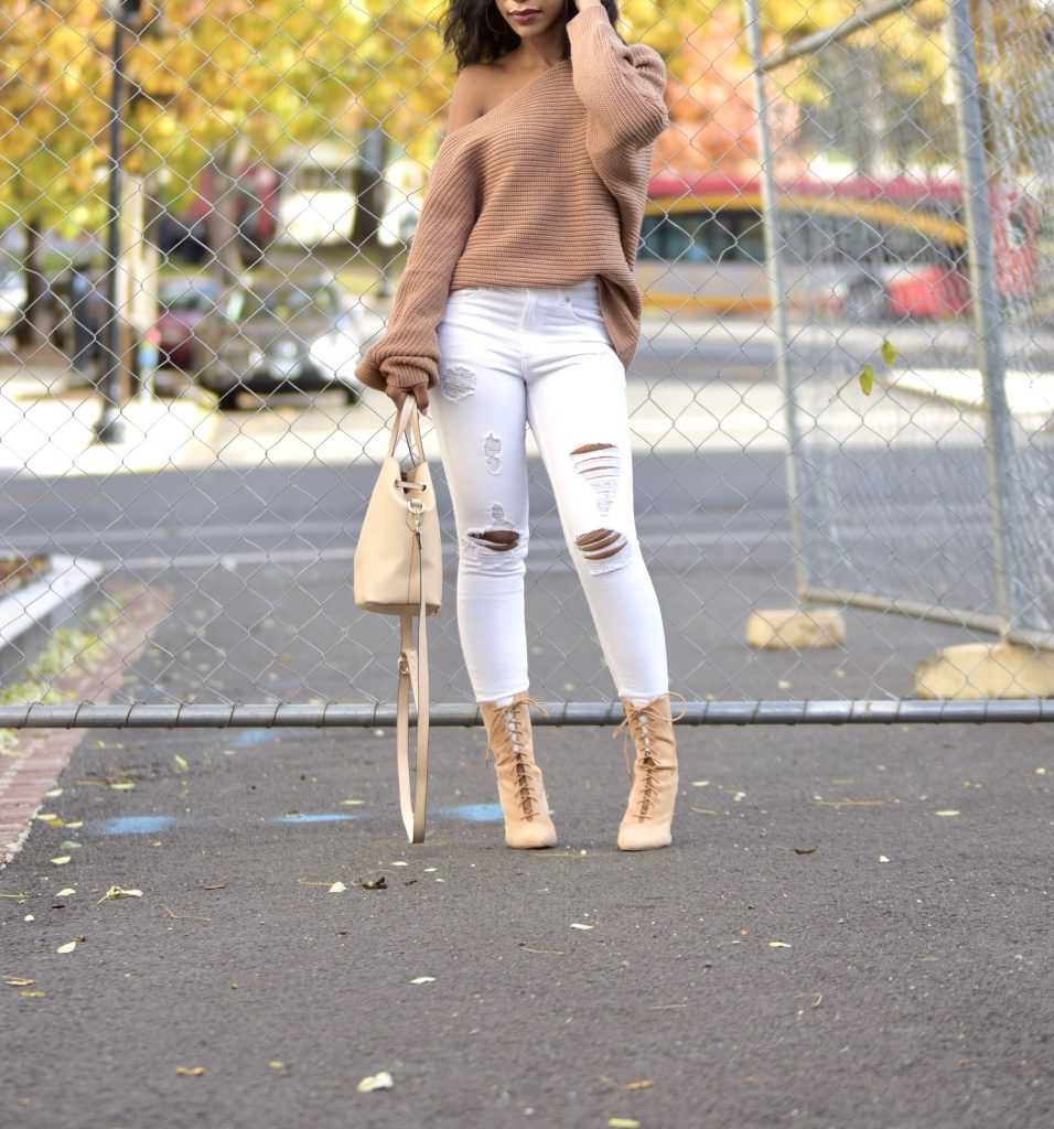 Tobi Time Will Tell Asymmetrical Sweater, Express White Ripped Jeans, GoJane Nude Lace Up Booties
