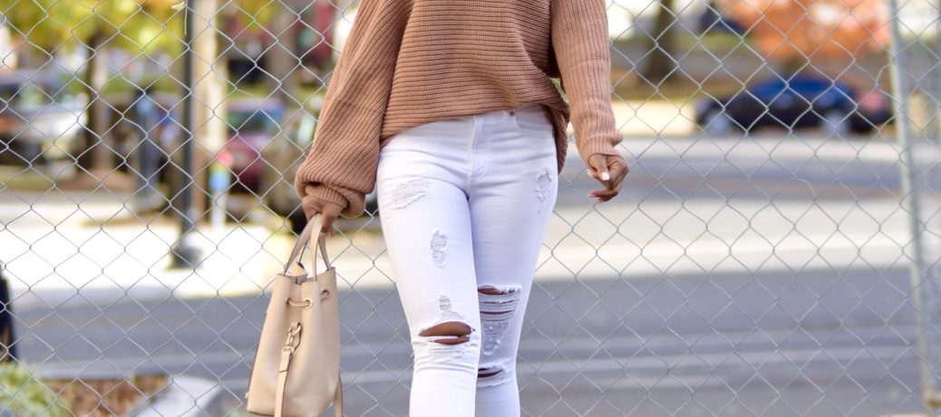Fall Style: Tan Tobi Asymmetrical Sweater + White Jeans + Nude Lace Up Booties