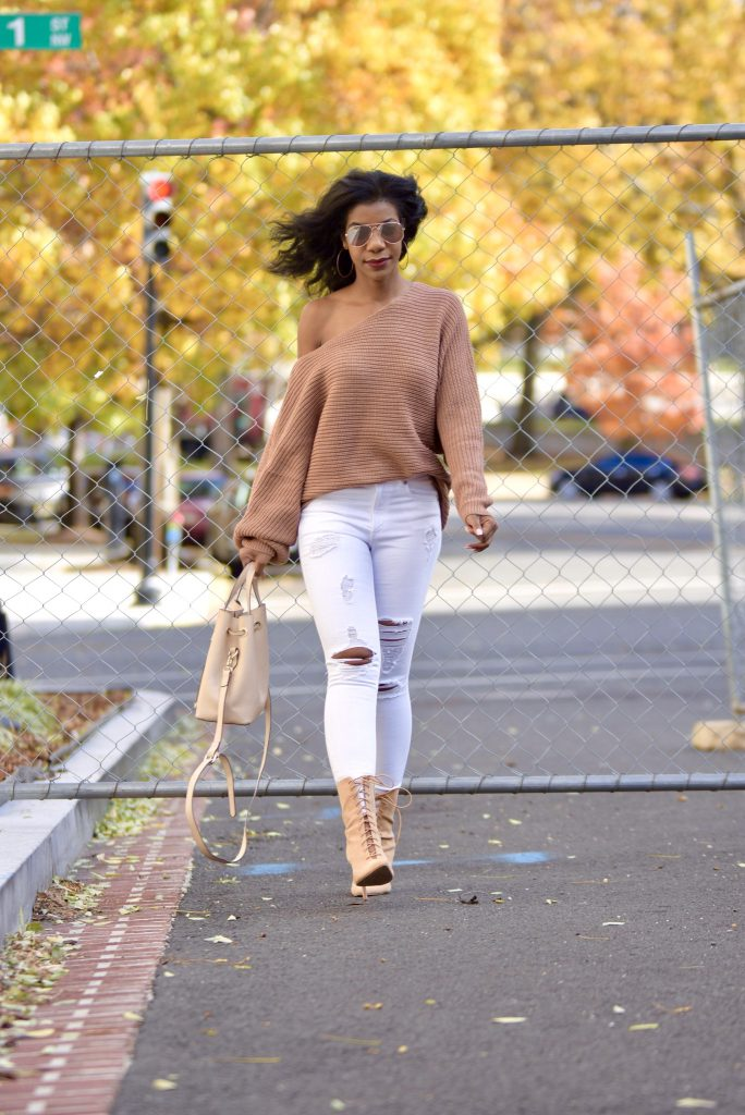 f251d452d2235 Fall Style  Tan Tobi Asymmetrical Sweater + White Jeans + Nude Lace ...