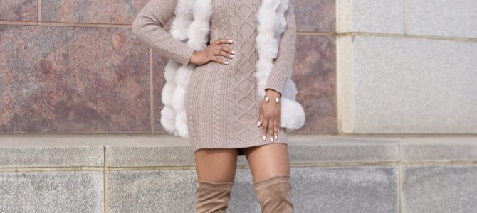 Fall/Winter Style: Faux Fur Vest + Sweater Dress + Boots