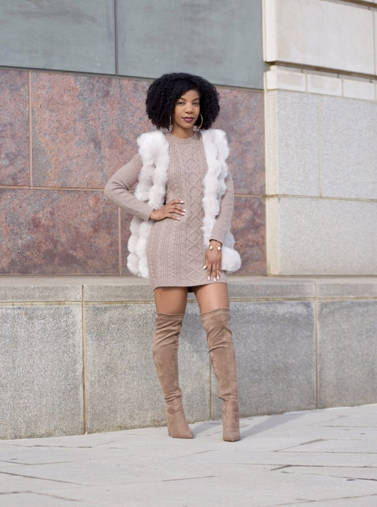 SheIn Cream Faux Fur Vest, Express Tan Sweater Dress, Boohoo Taupe OTK Boots
