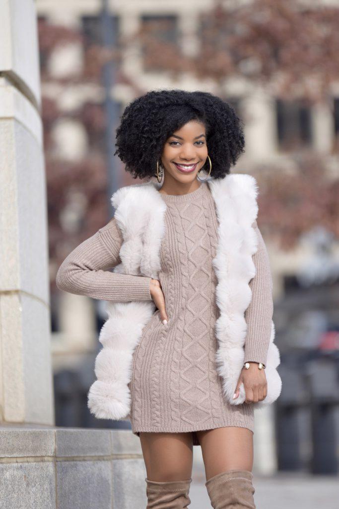 SheIn Cream Faux Fur Vest, Express Tan Sweater Dress, Boohoo Taupe OTK Boots