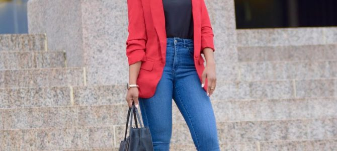 Fall/Winter Style: SheIn Red Blazer +Black Cami + Denim