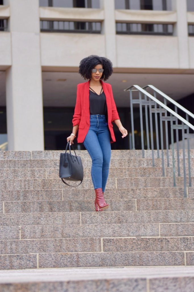 SheIn Red Blazer Black Scallop Cami Zara Blue Jeans, Burgundy Forever21 Booties, H&M Black Satchel