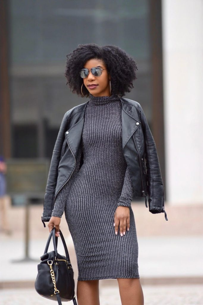 Romwe Marled Knit Cowl Neck Ribbed Pencil Dress, Forever21 Burgundy Booties, Black TopShop Leather Jacket, Black Mirror Sunglasses, Black Michael Kors Purse with Goldchain Strap