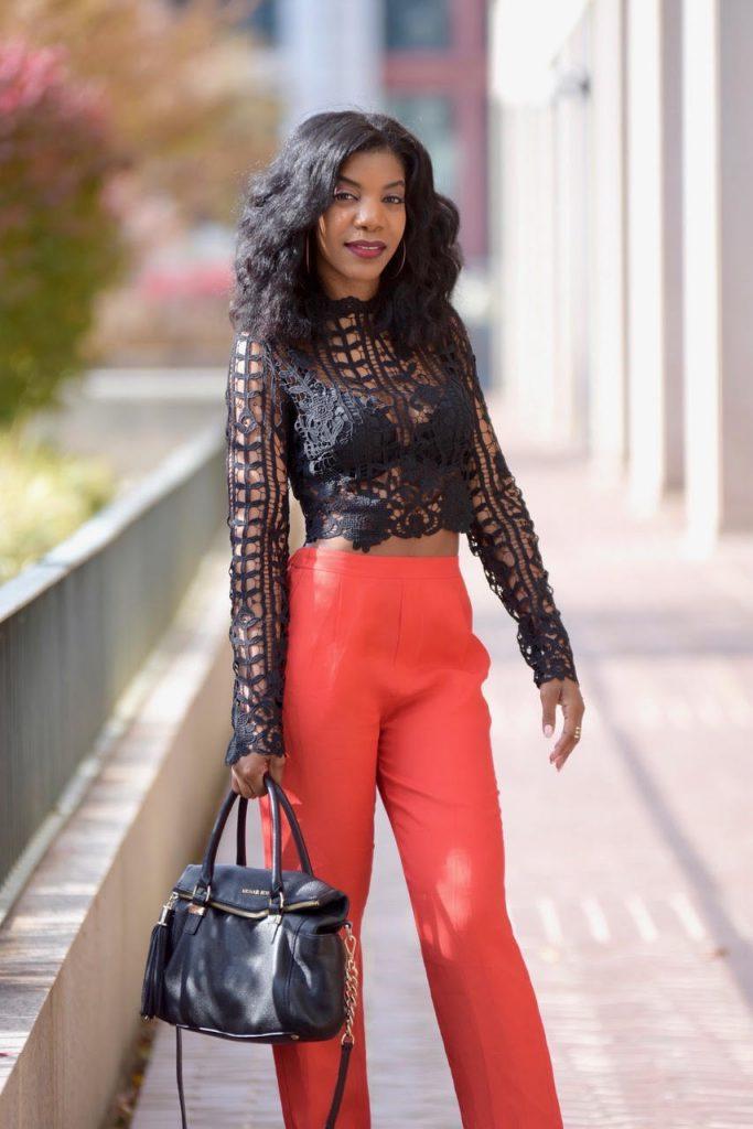 Tobi Black Style and Lace Crop Top, H&M Red Wide Leg Pants, H&M Black Faux Fur Coat, Black and Gold Michael Kors Satchel with Strap, Black Pumps