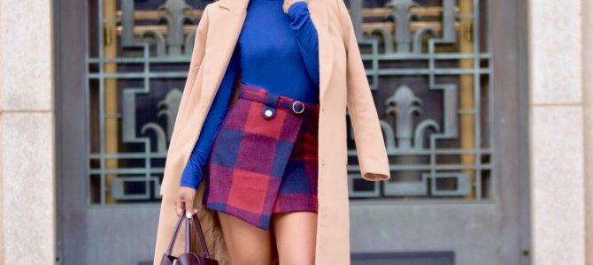 Fall/Winter Style: Plaid Skirt + Navy Turtleneck + Camel Coat + Burgundy Booties