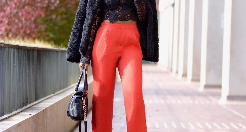 Holiday Party Outfit: Black Tobi Lace Top + Red Pants + Black Faux Fur Coat