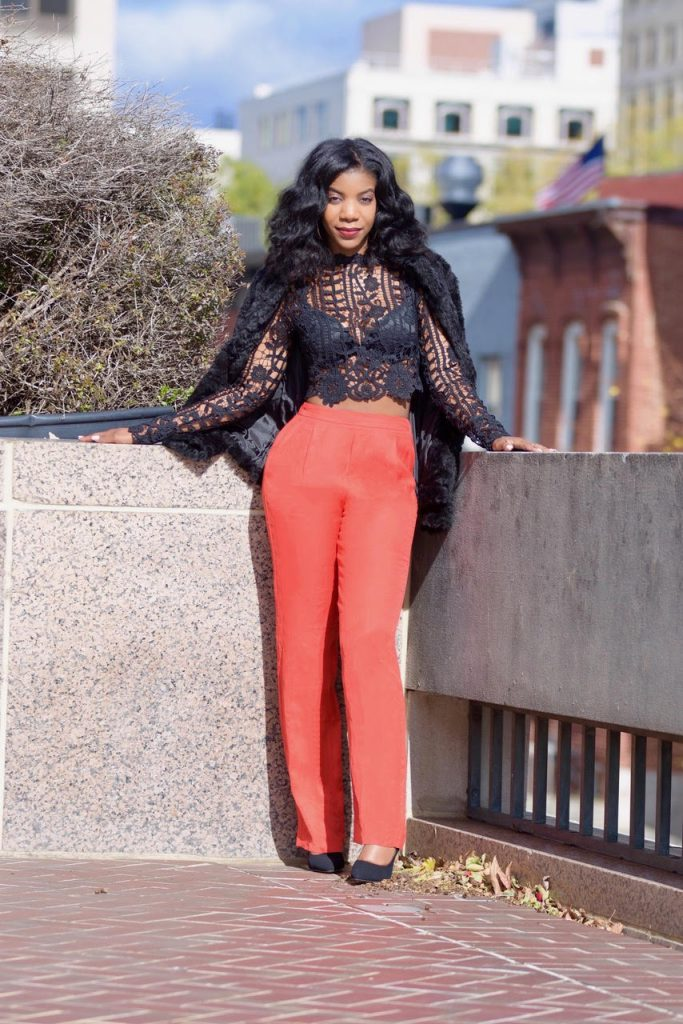 Tobi Black Style and Lace Crop Top, H&M Red Wide Leg Pants, H&M Black Faux Fur Coat, Black and Gold Michael Kors Satchel with Strap, Black Pumps