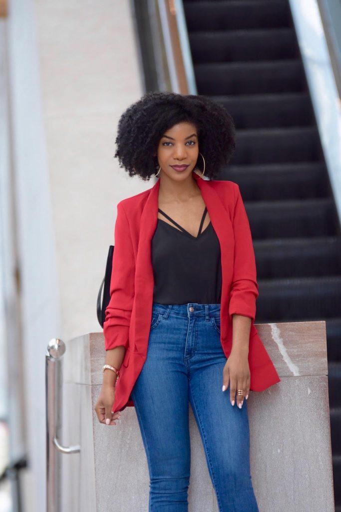 SheIn Red Blazer Black Scallop Cami Zara Blue Jeans, Burgundy Forever21 Booties, H&M Black Satchel