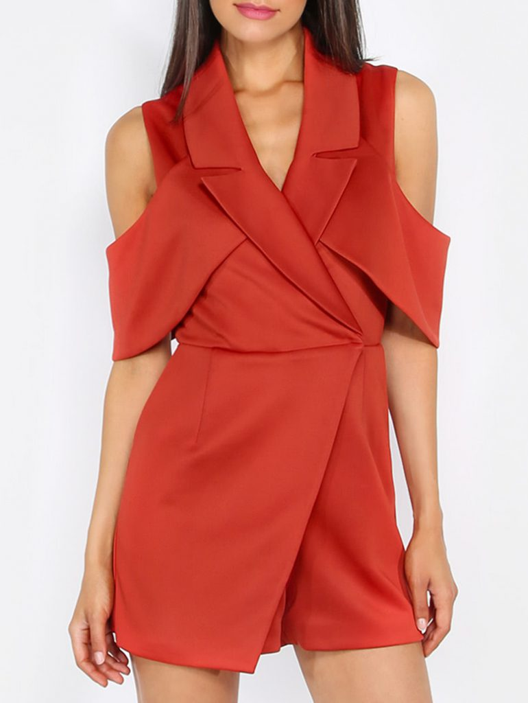 Romwe Red Sleeveless Roll-Up Collar Jumpsuit